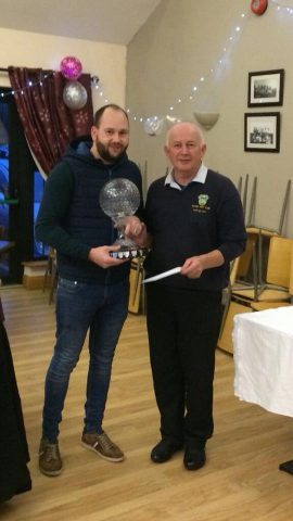 Golfer of the Year 2017 Aaron Hayter receiving his prize from Captain Martin Cassidy