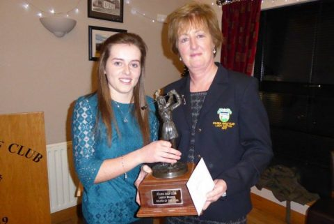 Lady Captain Anne-Marie Donaghy presenting Una Bradley with the 2017 Lady Golfer Of The Year Trophy